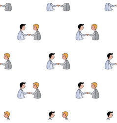 handshaking of businessmen icon in cartoon style vector image