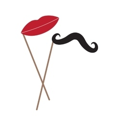 mustache and lips on stick over white vector image