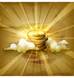 Stack of coins old style background vector image vector image