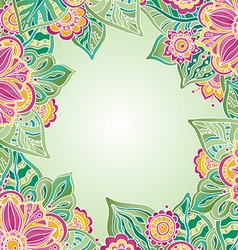 template with colorful flowers and leaves for vector image vector image
