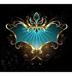 Turquoise Banner with Fleur De Lis vector image
