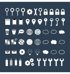 White business icons set over blue vector image vector image