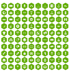 100 sport journalist icons hexagon green vector image