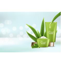 Aloe vera skin care cosmetic advertising vector