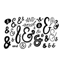 Ampersand signs monochrome font symbols isolated vector