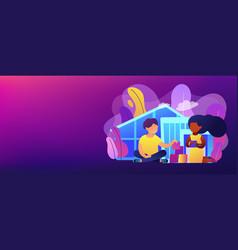 Autism center concept banner header vector