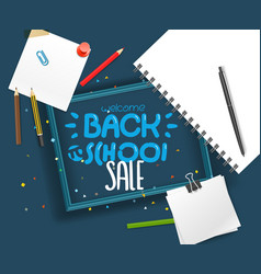 Back to school sale lettering banner vector