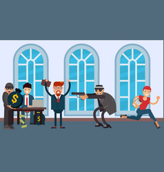 Bank robbery criminals in hats and glasses vector
