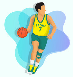 basketball player with yellow jersey vector image