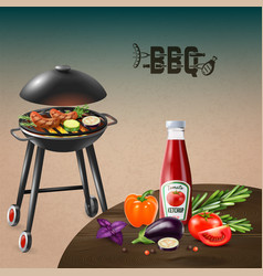 Bbq grill realistic vector