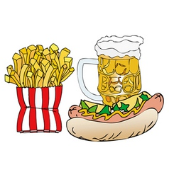 Beer hot dogs and french fries vector