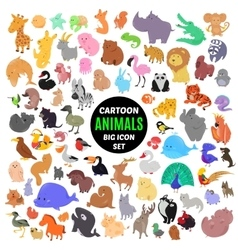 big set cute cartoon animal icons isolated on vector image