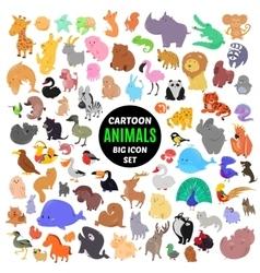Big set of cute cartoon animal icons isolated vector