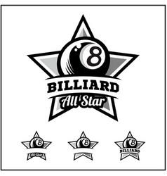 Billiard 8 ball all star badge logo vector