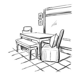 Black and white interior sketch vector
