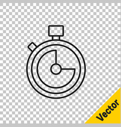 black line stopwatch icon isolated on transparent vector image