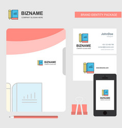 book and pencil business logo file cover visiting vector image