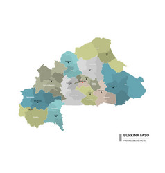 Burkina faso higt detailed map with subdivisions vector