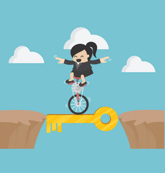 Business woman drives a single wheel bike through vector