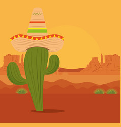 cactus with hat in the desert to event celebration vector image