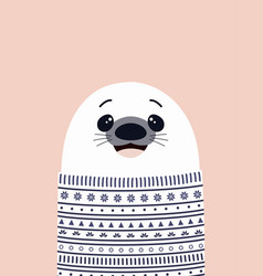 card with cute seal vector image