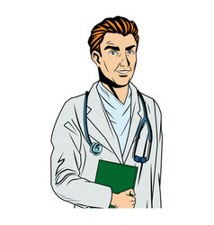 Cartoon funny doctor with stethoscope and vector