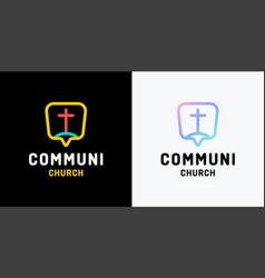 church logo christian symbols cross jesus vector image