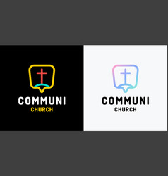 church logo christian symbols the cross jesus vector image