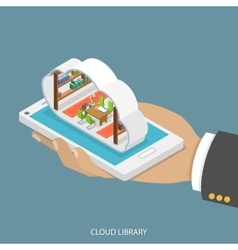 Cloud library flat isometric concept vector