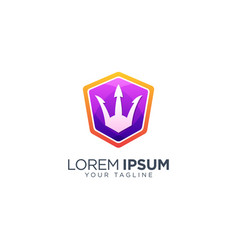Colorful trident logo design template vector