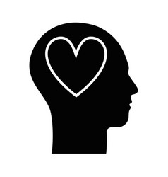 contour silhouette head with heart inside vector image