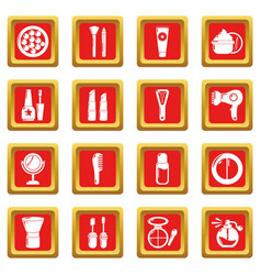 Cosmetics icons set red square vector