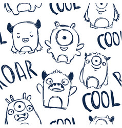 cute monsters and lettering seamless pattern vector image