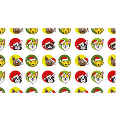 dogs and cat in christmas santa hat pattern vector image