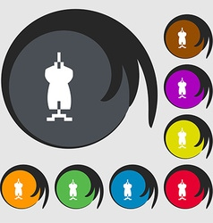 Dress Icon sign Symbols on eight colored buttons vector