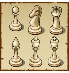 Elegant chess set in light color six figures vector image