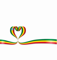 ethiopian flag heart-shaped ribbon vector image