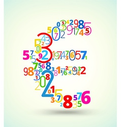 Euro sign colored font from numbers vector image