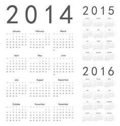 European 2014 2015 2016 year calendars vector image