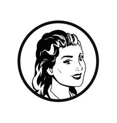 face woman pop art style comic outline vector image