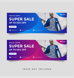 fashion sale facebook cover banner template vector image