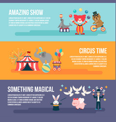 flat set of card circus people animals elements vector image