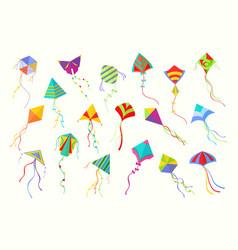 flying kites set beautiful geometric shaped vector image