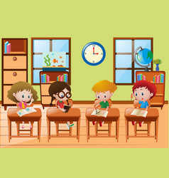 Four students learning at school vector