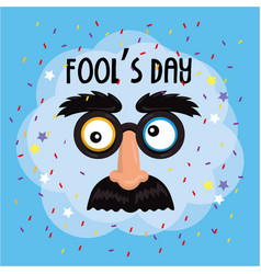 Funny mask with glasses and mustache to fools day vector