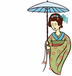 geisha umbrella vector image