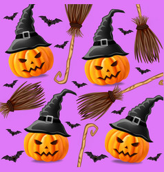 halloween background with pumpkins witches and vector image