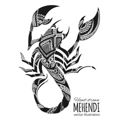 Hand-drawn mehendi scorpion Ethnic african vector image