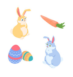 happy easter - a set of colorful isometric vector image