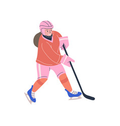 Happy teenager girl playing ice hockey game vector